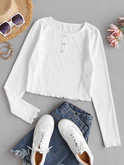 ZAFUL Ribbed Lettuce Trim Cropped T Shirt - White S