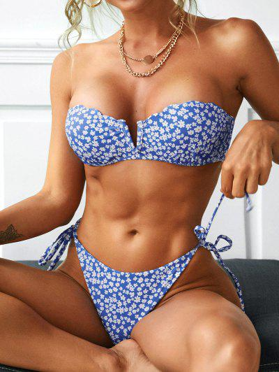 ZAFUL Push Up V-notch Floral Tie Side Bikini Swimwear - Blue S