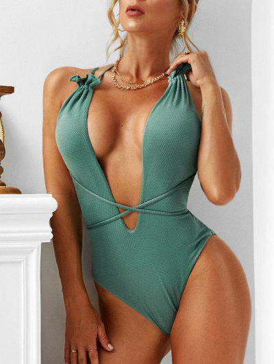 ZAFUL Textured Ruffle Plunge Front One-piece Swimsuit - Deep Green M