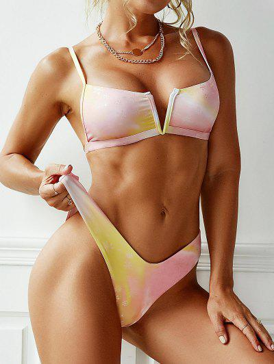 ZAFUL Tie Dye Snowflake V-wire Christmas Bikini Swimwear - Yellow S