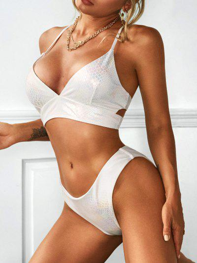 ZAFUL High Cut Criss Cross Snakeskin Coated Bikini Swimwear - White M