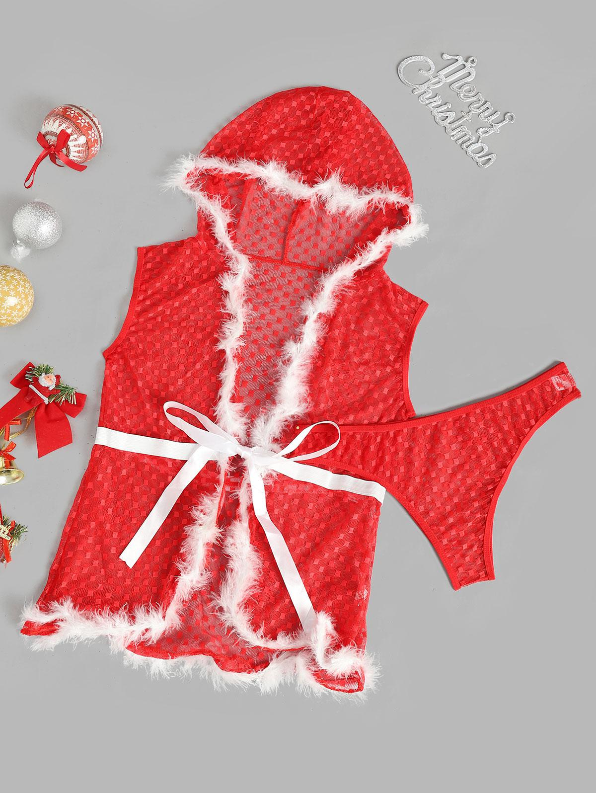 Faux Feather Plaid Mesh Christmas Lingerie Set Faux Feather Plaid Mesh Christmas Lingerie Set