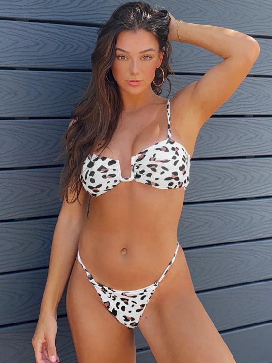 Jessica Stockstill X ZAFUL Ribbed Leopard U Wired String Bikini Swimwear - القهوة الخفيفة S