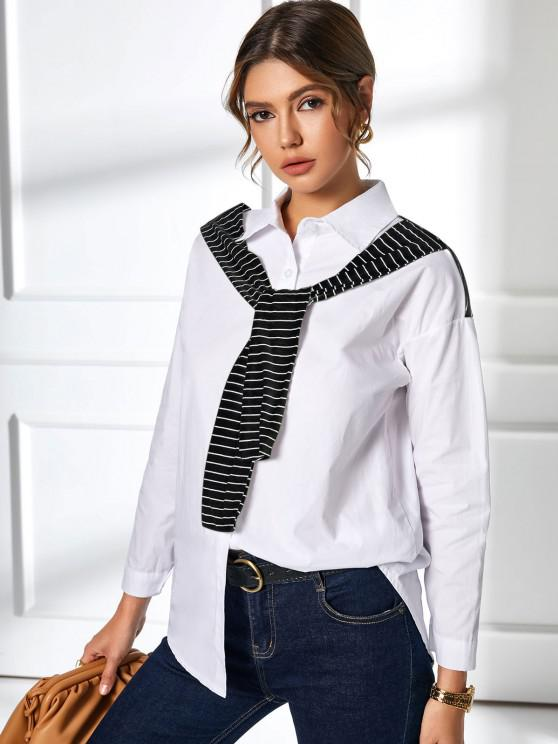trendy Button Up Inset Striped Scarf Shirt - WHITE S