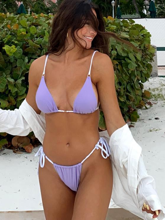 JessicaStockstillXZAFUL Maillot de Bain Bikini Côtelé Texturé Contrasté à Cordon avec Anneau en O - Pourpre  M