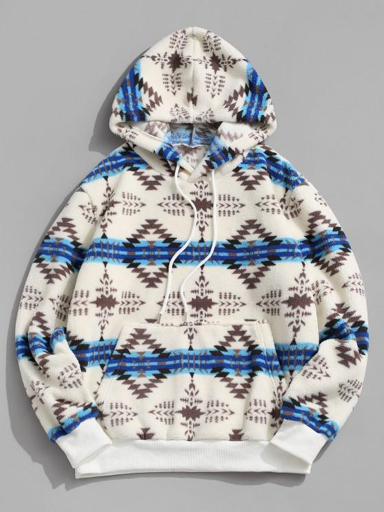 sale ZAFUL Tribal Pattern Kangaroo Pocket Fluffy Hoodie - WHITE S