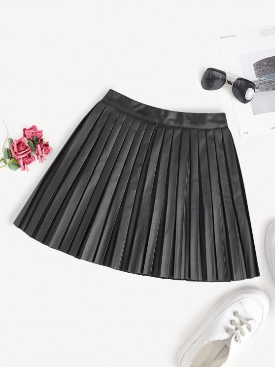 affordable Pleated Faux Leather A Line Skirt - BLACK L