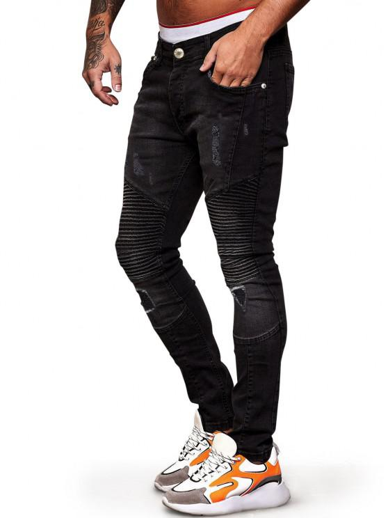 Pleated Patchwork Scratch Ripped Jeans - أسود 36