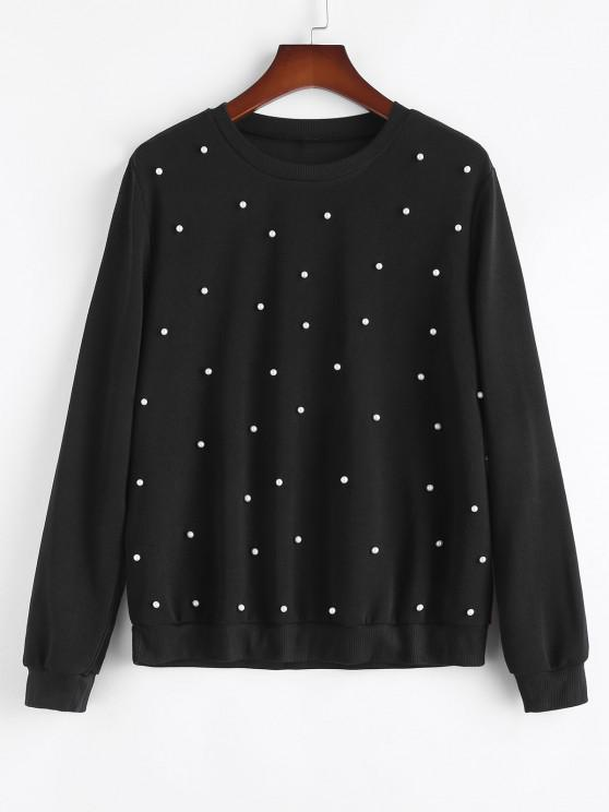 hot Plus Size Crewneck Beading Sweatshirt - BLACK 1XL