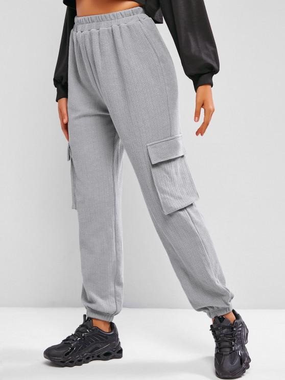ZAFUL Knitted Pocket High Waisted Pants - اللون الرمادي M
