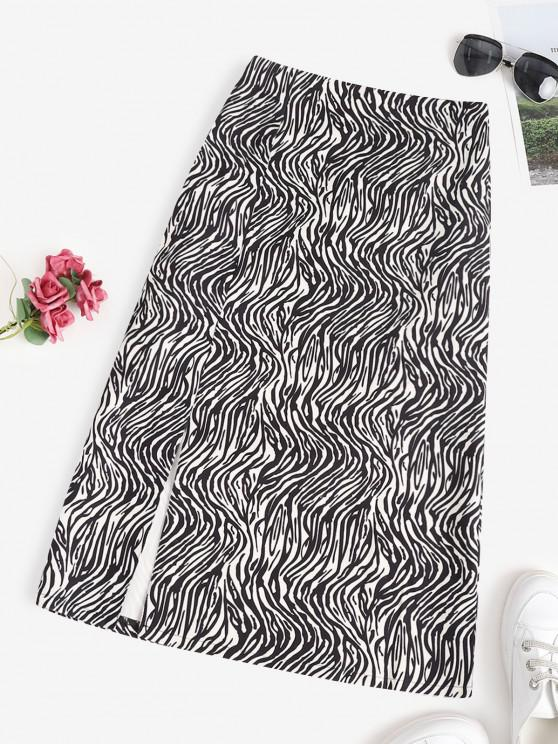 latest Zebra Animal Pattern Slit Midi Skirt - BLACK M