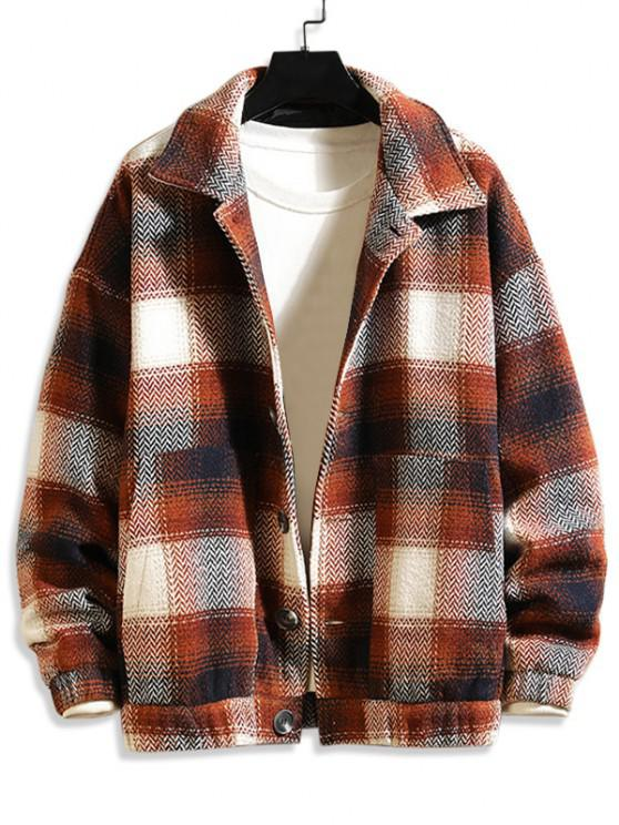 best Double Pockets Plaid Patterned Wool Blend Jacket - COFFEE S