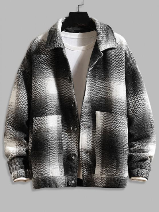 outfit Double Pockets Plaid Patterned Wool Blend Jacket - BLACK XS
