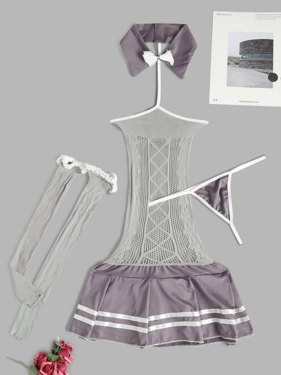 women Choker Net Chemise Set with Thigh Highs - LIGHT GRAY ONE SIZE