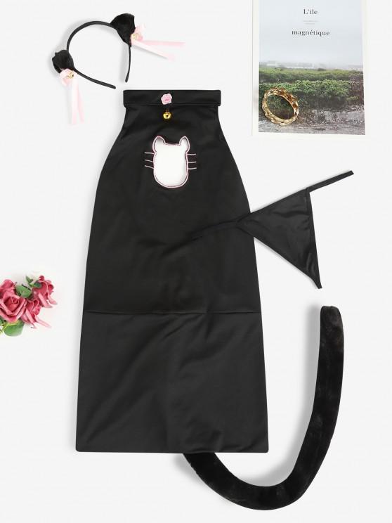 shop Halter Bell Embellish Cat Costume - BLACK ONE SIZE