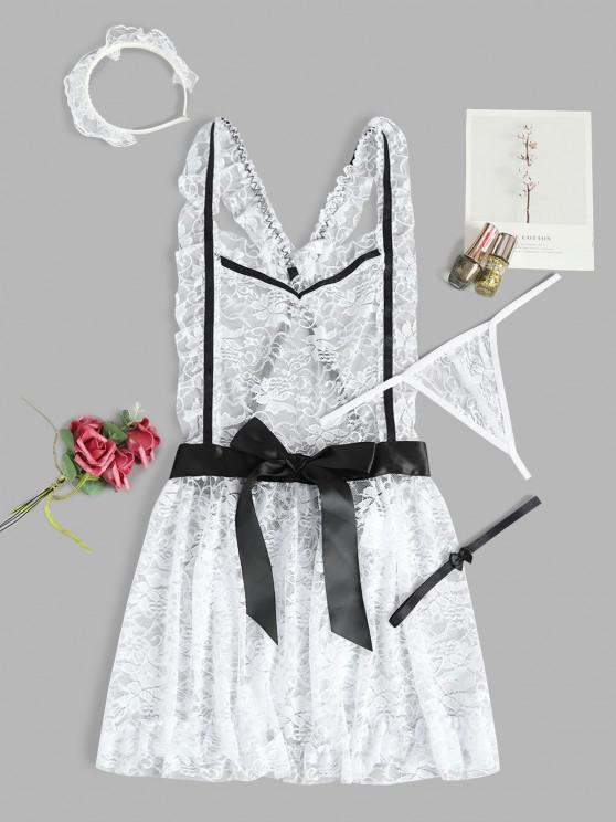 buy Lace Bowknot French Maid Costume - WHITE ONE SIZE