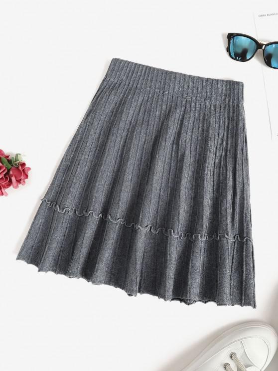 women's Knit Pintuck Frilled A Line Skirt - LIGHT SLATE GRAY ONE SIZE