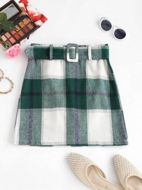 affordable Belted Flannel Plaid Mini Skirt - GREEN XL
