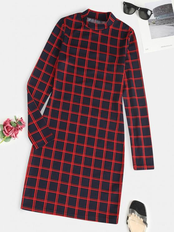 trendy ZAFUL Plaid Long Sleeve Slinky Dress - RED M