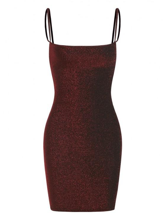 trendy Metallic Thread Slinky Ruched Open Back Bodycon Dress - RED S
