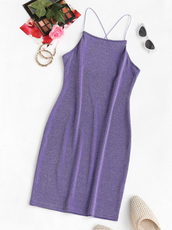 Shiny Sparkle Crisscross Party Mini Dress - أرجواني M