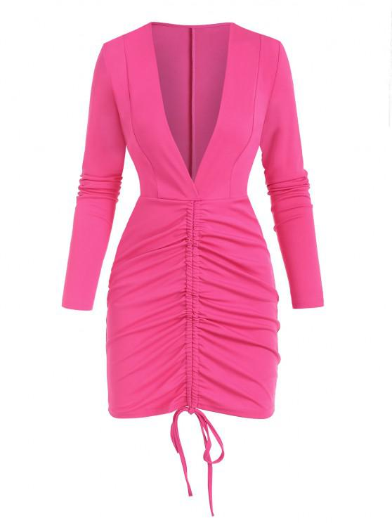 women Plunge Cinched Ruched Bodycon Dress - LIGHT PINK M