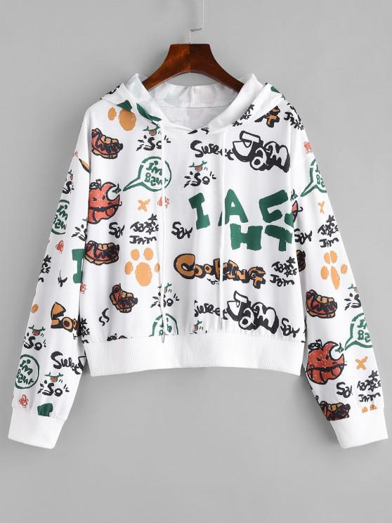 Letter Cartoon Fruit Drop Shoulder Hoodie - أبيض M