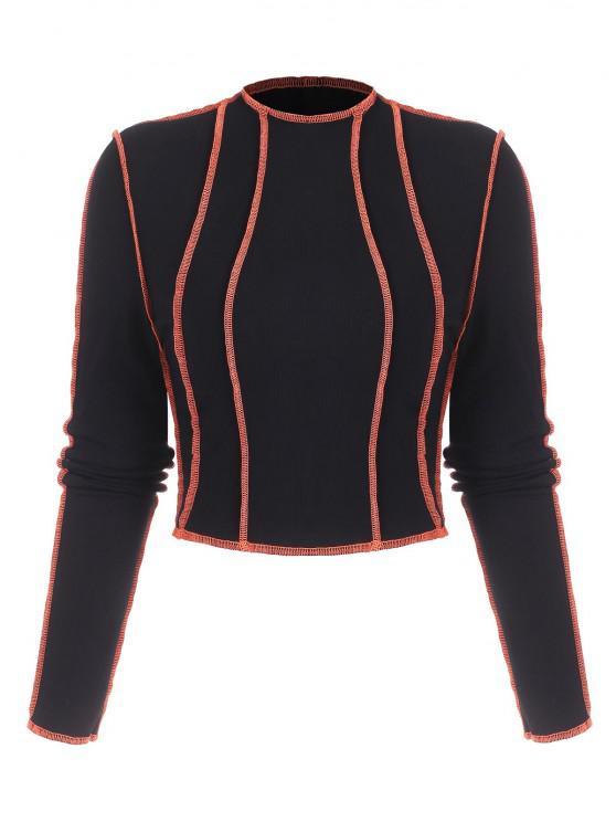 fashion ZAFUL Reverse Topstitching Rib-knit Crop Top - BLACK M