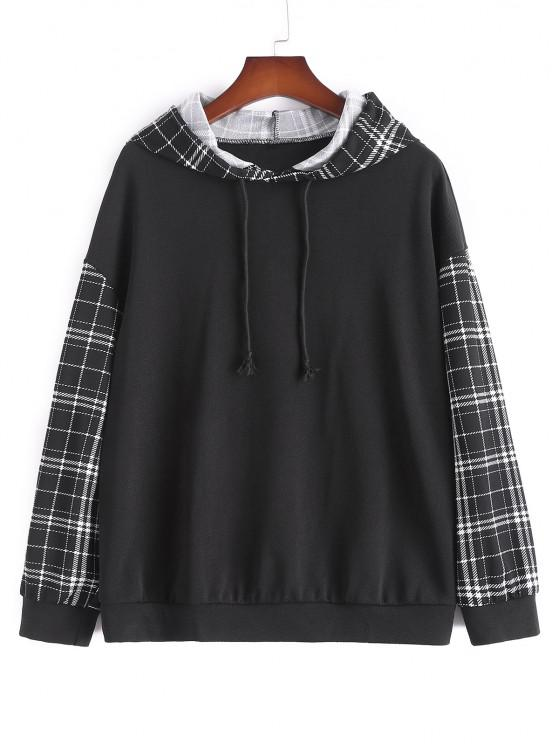 chic Plus Size Plaid Sleeve Hoodie - BLACK 4XL