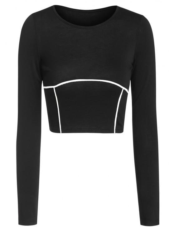 unique ZAFUL Underbust Binding Crop T Shirt - BLACK L