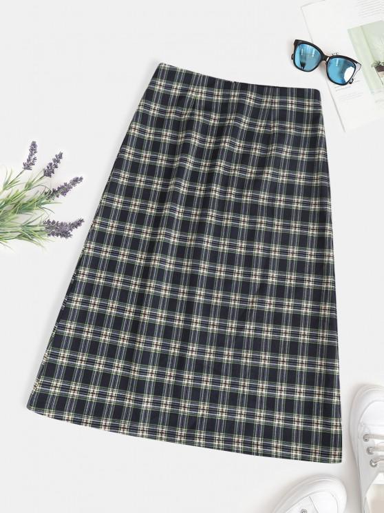 new ZAFUL Back Zipper Plaid A Line Skirt - DEEP GREEN M