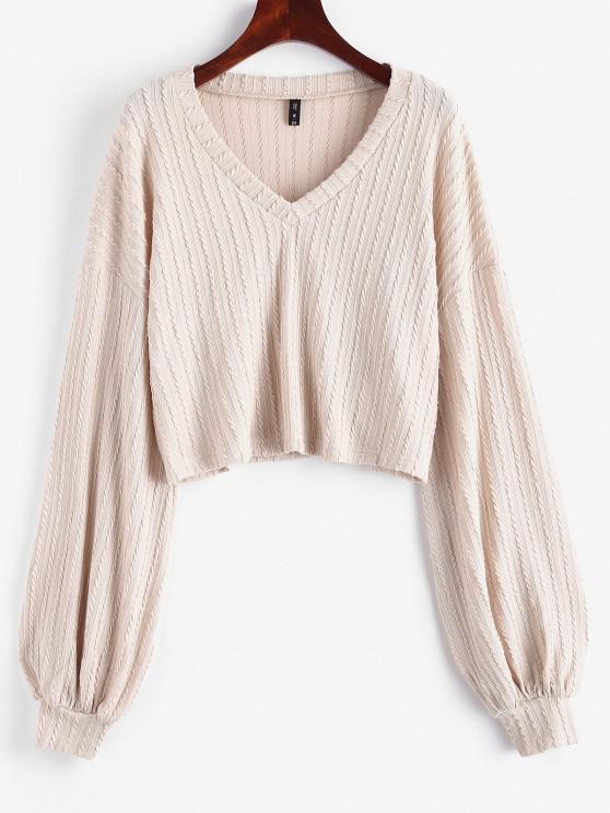 shop ZAFUL Cable Knit Lantern Sleeve Knitwear - LIGHT COFFEE M