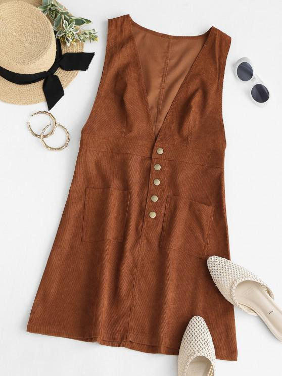 Snap Button Front Pocket Corduroy Dress - قهوة S