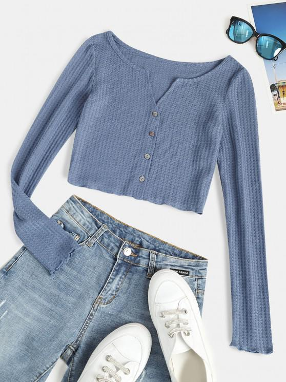 fancy ZAFUL Button Up Notched Collar Cropped Tee - BLUE M