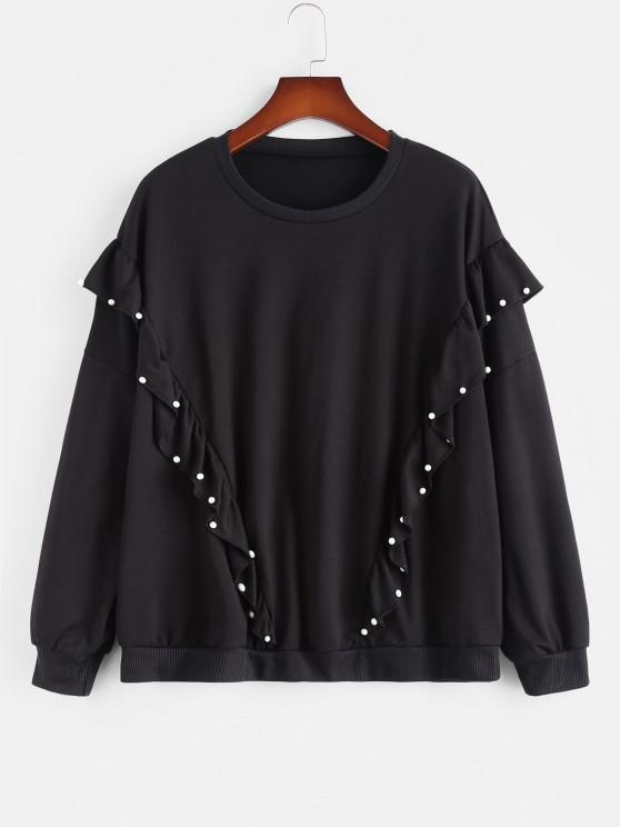 hot Plus Size Beading Ruffles Sweatshirt - BLACK L