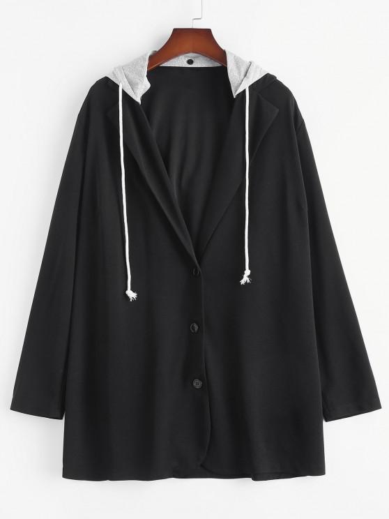 Plus Size Detachable Hooded Longline Blazer - أسود 3XL