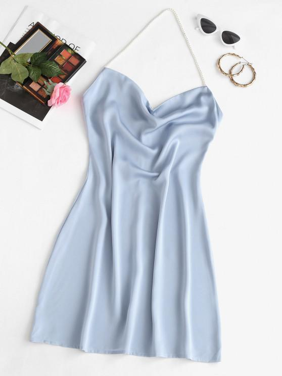 fancy Faux Pearl Halter Mini Party Dress - LIGHT BLUE S