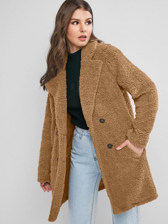 latest ZAFUL Lapel Pocket Longline Faux Fur Coat - CAMEL BROWN M