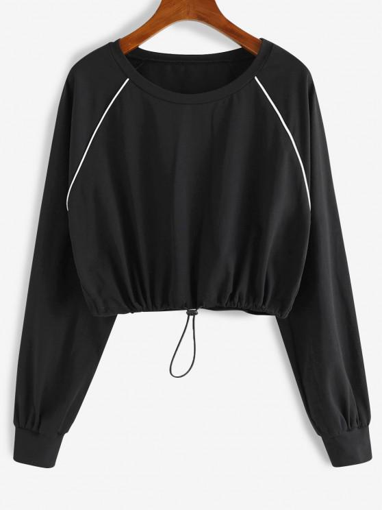 trendy ZAFUL Contrast Trim Raglan Sleeve Drawstring Cropped Tee - BLACK M