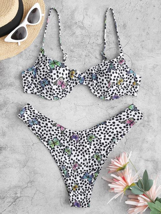 ZAFUL Maillot de Bain Bikini Côtelé Papillon Imprimé à Jambe Haute à Armature - Multi-A S