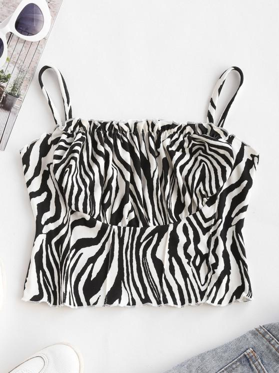 women's Zebra Print Ruched Cups Pintuck Cropped Camisole - MILK WHITE S