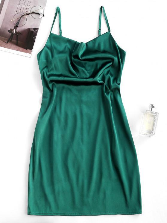 women's ZAFUL Satin Cowl Front Mini Party Dress - DARK GREEN L