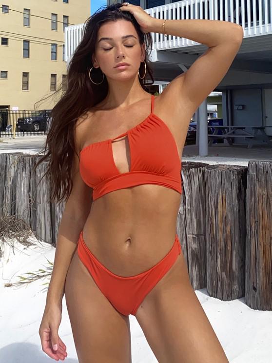 Jessica Stockstill X ZAFUL One Shoulder Ribbed Cutout Asymmetric Bikini Swimwear - أحمر S
