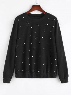 Plus Size Crewneck Beading Sweatshirt - Black 3xl