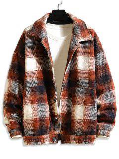 Doppelte Taschen Karierte Gemusterte Wollmischung Jacke - Kaffee 2xl
