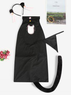 Halter Bell Embellish Cat Costume - Black