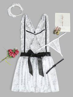 Lace Bowknot French Maid Costume - White