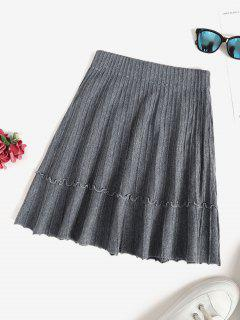 Knit Pintuck Frilled A Line Skirt - Light Slate Gray