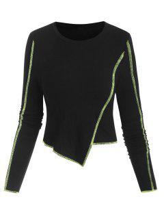 ZAFUL Rib-knit Neon Topstitching Asymmetrical Crop Top - Black M