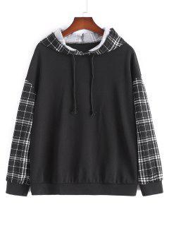 Plus Size Plaid Sleeve Hoodie - Black 1xl